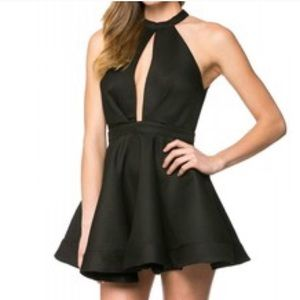 Black Skater Keyhole Dress S Nasty Gal